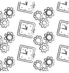 clock time gear business work seamless pattern vector image