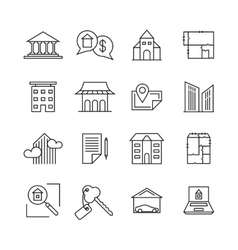 Commercial real estate linear icons Property for vector image