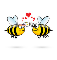 cute cartoon bees in love on white background vector image vector image