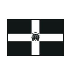 Dominican republic flag monochrome on white vector