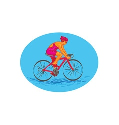 Female Cyclist Riding Bike Drawing vector image vector image