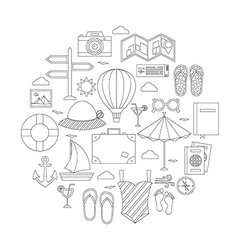 Flat summer holiday line objects set vector