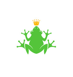 Frog with crown logo vector