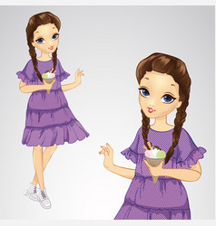 Girl in holds ice cream vector
