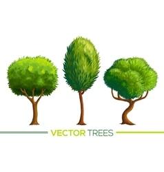 Green cartoon style trees set vector image