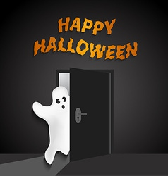 Halloween background with funny ghost opening the vector image