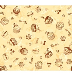 Hand-drawing seamless cupcake pattern vector image