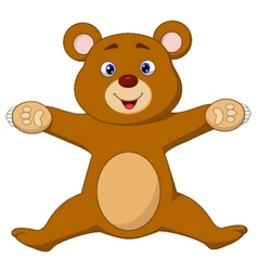 Happy brown bear cartoon jumping vector image vector image