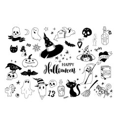 happy halloween collection of doodles vector image vector image