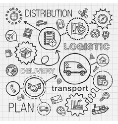 Logistic hand draw integrated icons set vector image vector image