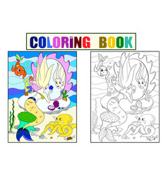 Mermaid looks in the mirror coloring book for vector