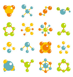 molecule icons set in flat style vector image vector image