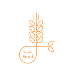 Orange organic food logo like wheat ears vector