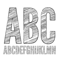 Pencil sketched font vector image