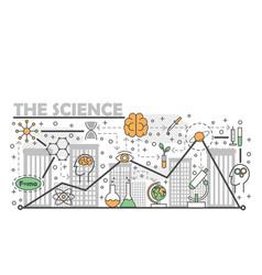 Science concept flat line art vector