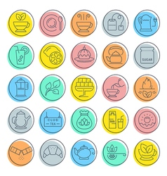 Set flat line icons tea vector