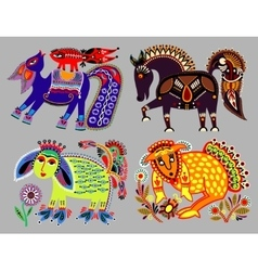 Set of decorative ethnic folk animals in ukrainian vector