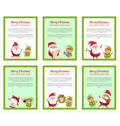 set of merry christmas cards vector image vector image