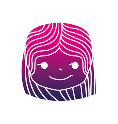 Silhouette girl head with hairstyle and rogue face vector