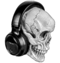 Skull in headphones halftone vector
