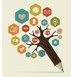 Social media flat icon concept tree vector image vector image