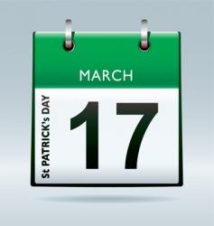 St Patrick's day calendar green vector image