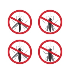 Stop mosquito sign black in red circle isolated vector