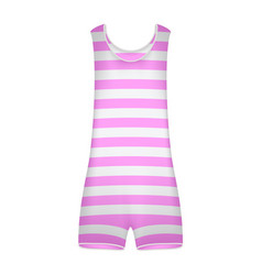 Striped retro swimsuit in pink and white design vector