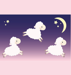 three jumping lambs vector image