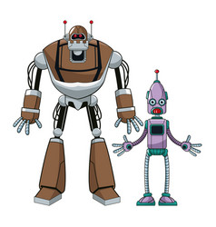 two robot futuristic technologies vector image vector image