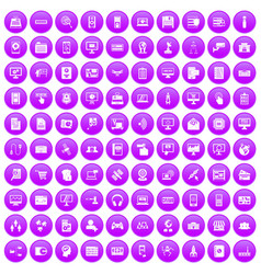 100 database icons set purple vector