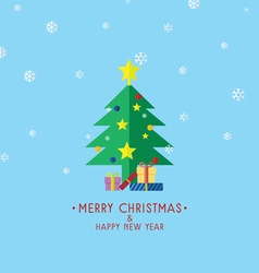 Christmas tree with gifts christmas card vector
