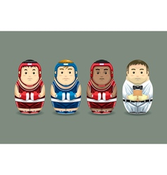 Olympic boxing russian dolls vector
