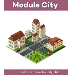 Isometric retro 3d urban module of the city for vector
