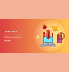 Spam attack banner horizontal cartoon style vector