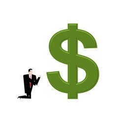 Businessman praying to dollar prayer cash pray vector