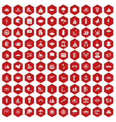 100 sailing vessel icons hexagon red vector