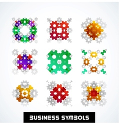 Business geometric shape symbols icon set vector