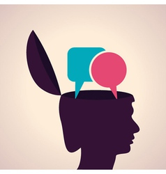 Thinking concept-human head with message bubble vector