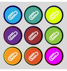 Paper clip sign icon clip symbol set colourful vector
