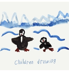 Childs drawing of penguins vector