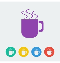 Cup flat circle icon vector