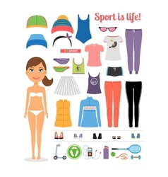 Cartoon girl with fitness clothing and equipment vector