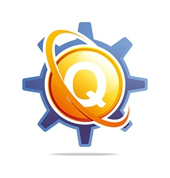 Logo circle globe gear letter q orange abstract vector