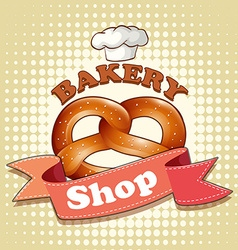 Pretzel on bakery sign vector