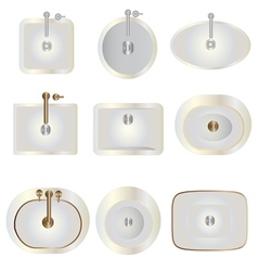 Bathroom  basin top view set 8 for interior vector