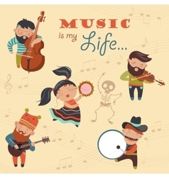 Cute musicians and dancer vector