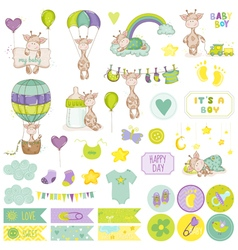 Baby Boy Giraffe Scrapbook Set vector image