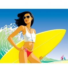 girl with a surfboard vector image