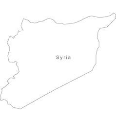 Black white syria outline map vector